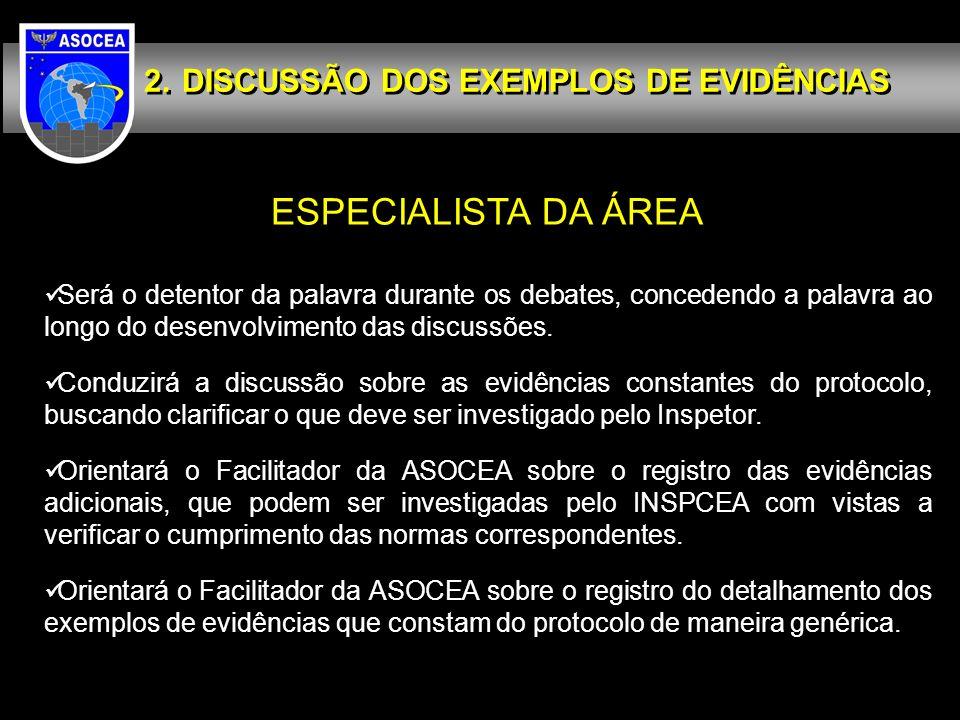 ESPECIALISTA DA ÁREA DISCUSSÃO DOS EXEMPLOS DE EVIDÊNCIAS