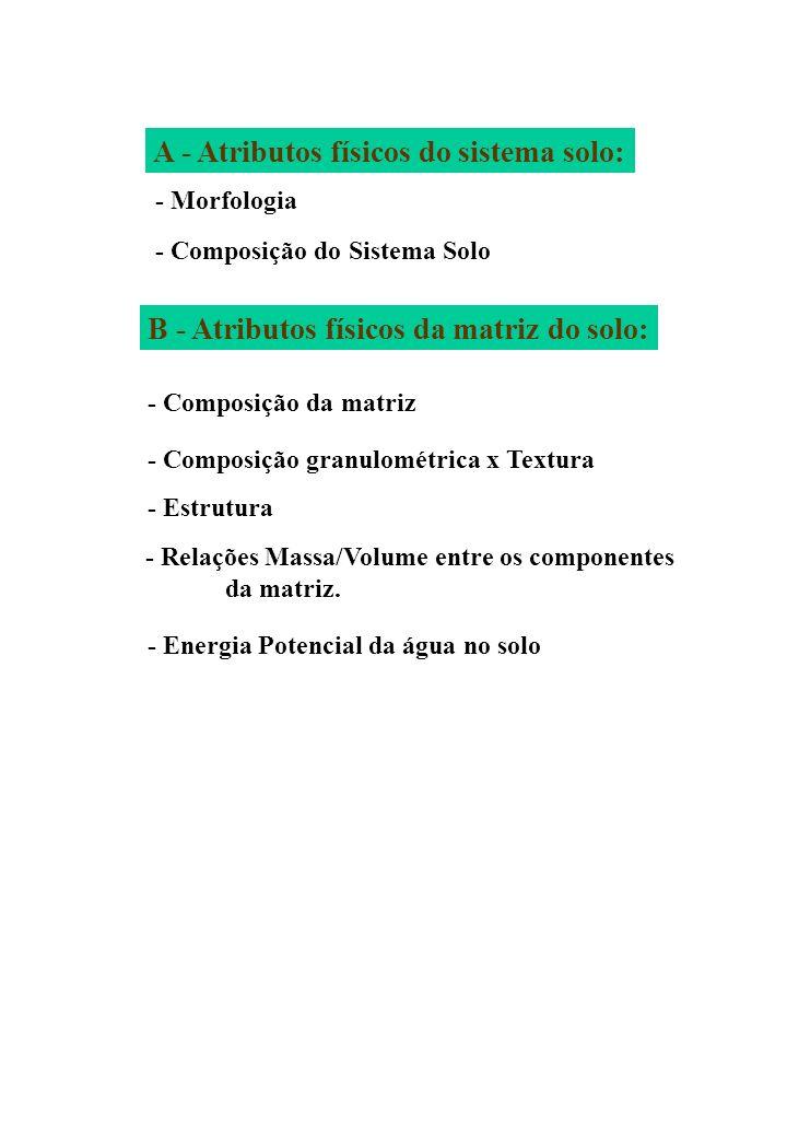 A - Atributos físicos do sistema solo: