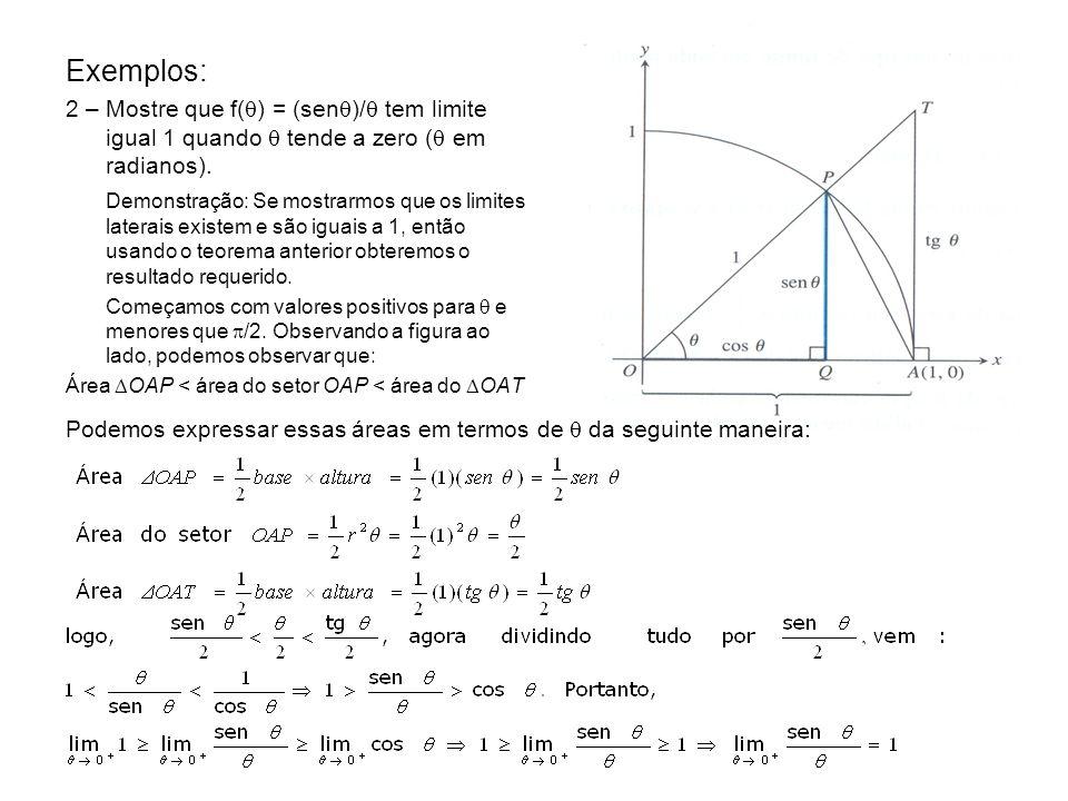 Exemplos: 2 – Mostre que f() = (sen)/ tem limite igual 1 quando  tende a zero ( em radianos).