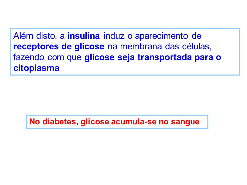 Além disto, a insulina induz o aparecimento de receptores de glicose na membrana das células, fazendo com que glicose seja transportada para o citoplasma