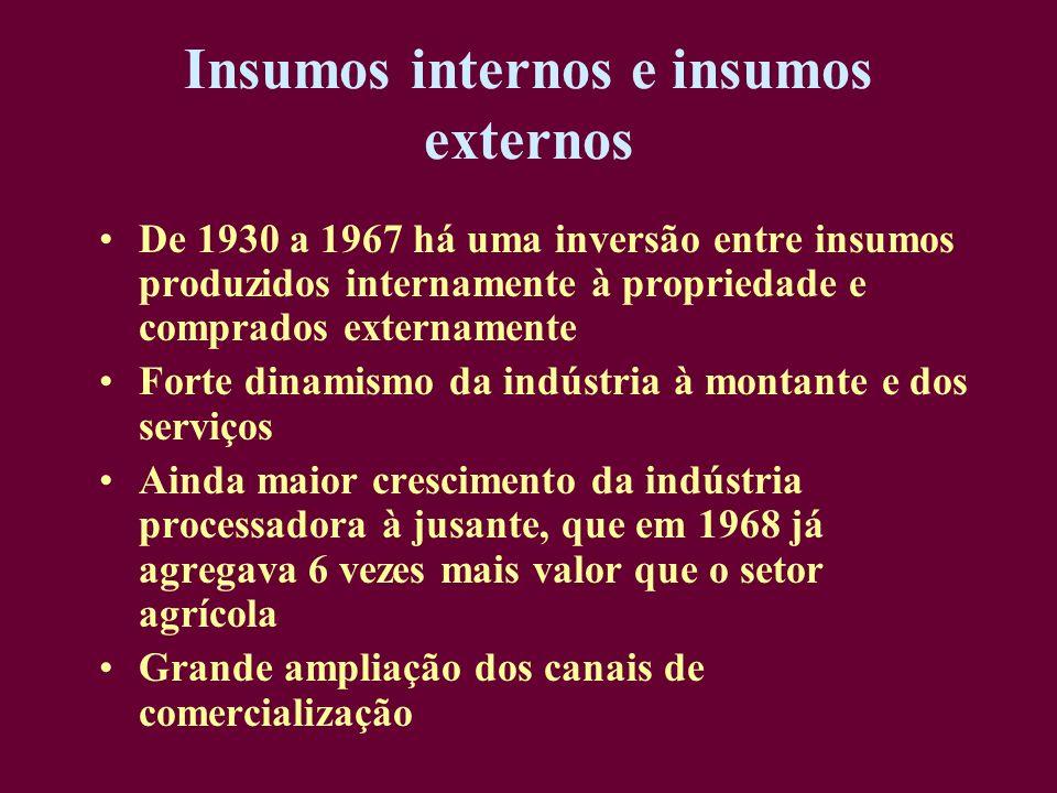 Insumos internos e insumos externos