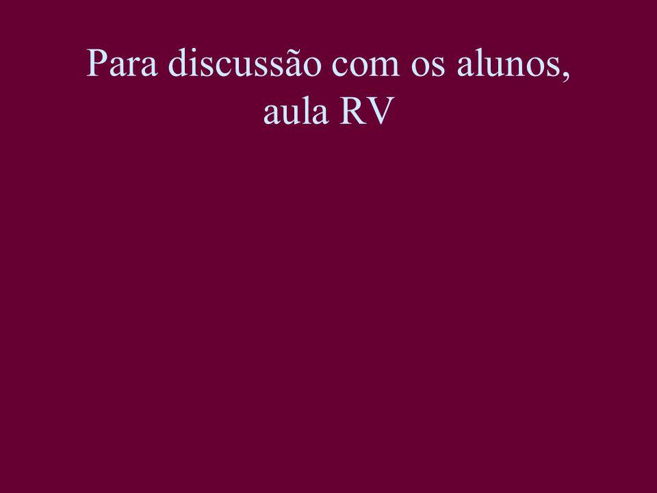 Para discussão com os alunos, aula RV