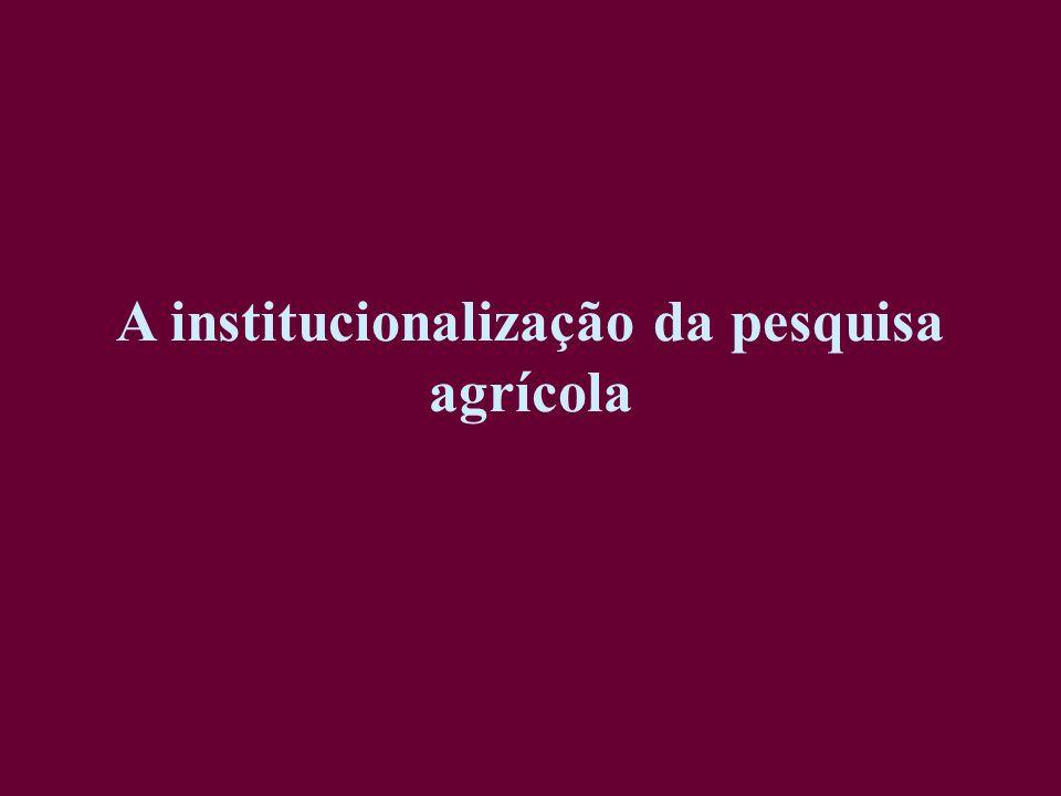 A institucionalização da pesquisa agrícola