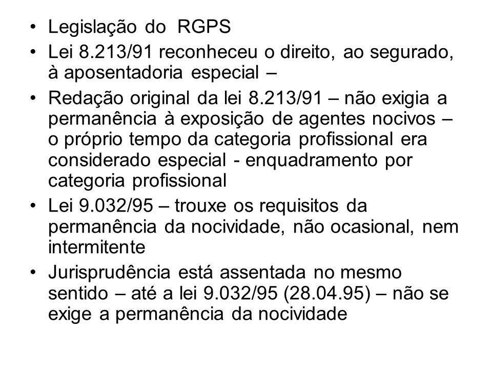 Legislação do RGPS Lei 8.213/91 reconheceu o direito, ao segurado, à aposentadoria especial –