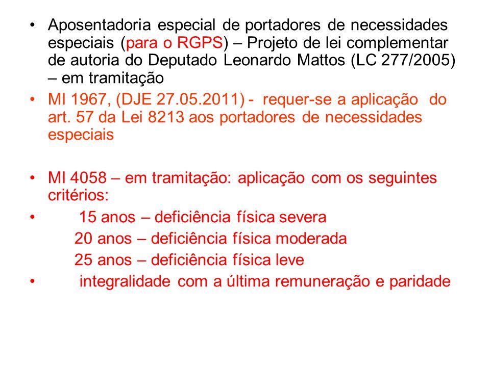Aposentadoria especial de portadores de necessidades especiais (para o RGPS) – Projeto de lei complementar de autoria do Deputado Leonardo Mattos (LC 277/2005) – em tramitação