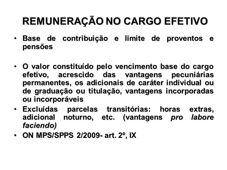 REMUNERAÇÃO NO CARGO EFETIVO