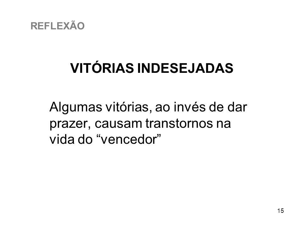 REFLEXÃO VITÓRIAS INDESEJADAS.
