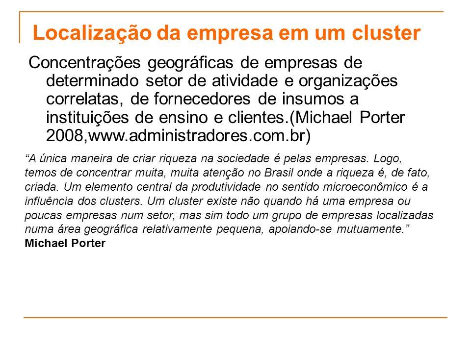 Localização da empresa em um cluster