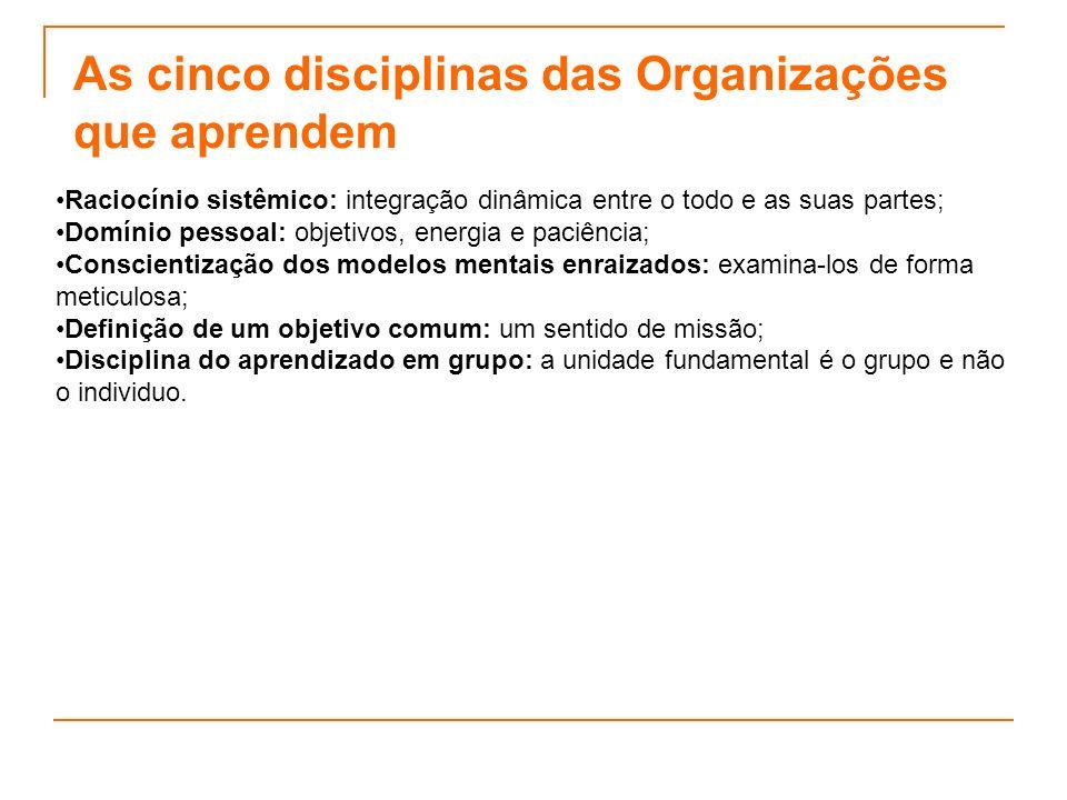As cinco disciplinas das Organizações que aprendem