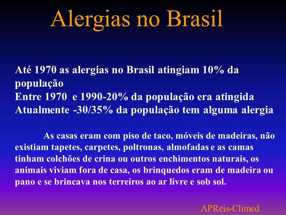 Alergias no Brasil Até 1970 as alergias no Brasil atingiam 10% da população. Entre 1970 e 1990-20% da população era atingida.