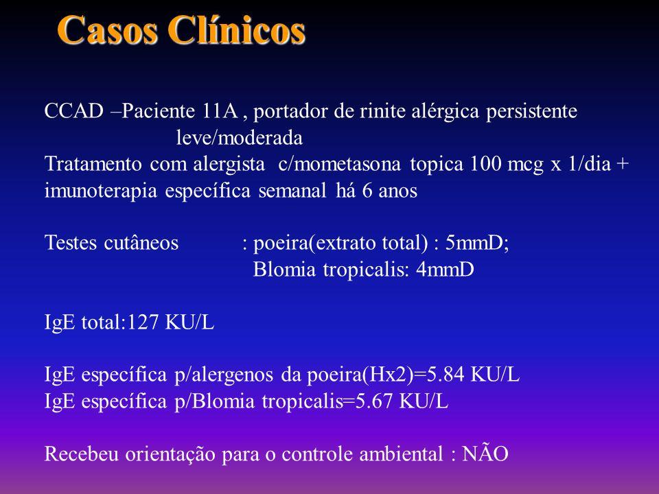Casos ClínicosCCAD –Paciente 11A , portador de rinite alérgica persistente leve/moderada.