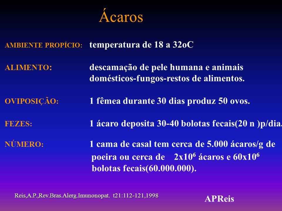 Ácaros AMBIENTE PROPÍCIO: temperatura de 18 a 32oC. ALIMENTO: descamação de pele humana e animais domésticos-fungos-restos de alimentos.