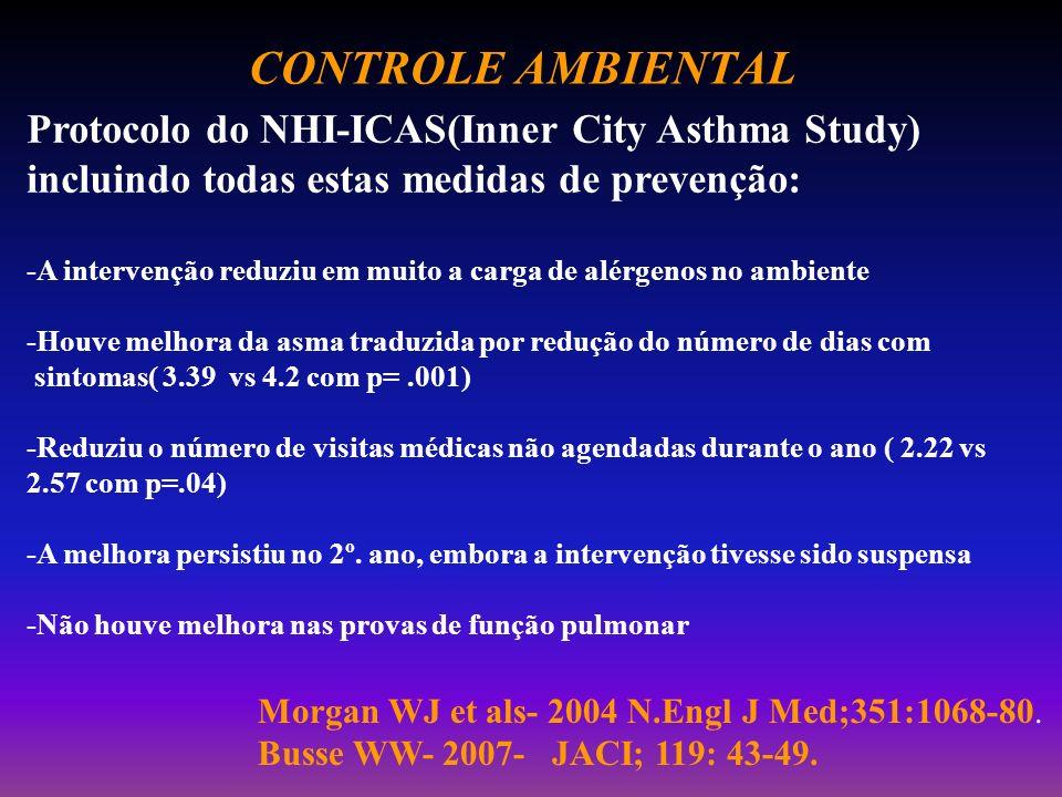 CONTROLE AMBIENTAL Protocolo do NHI-ICAS(Inner City Asthma Study) incluindo todas estas medidas de prevenção: