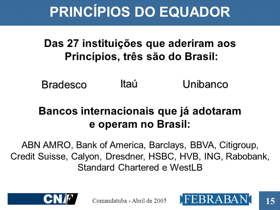 PRINCÍPIOS DO EQUADOR Das 27 instituições que aderiram aos