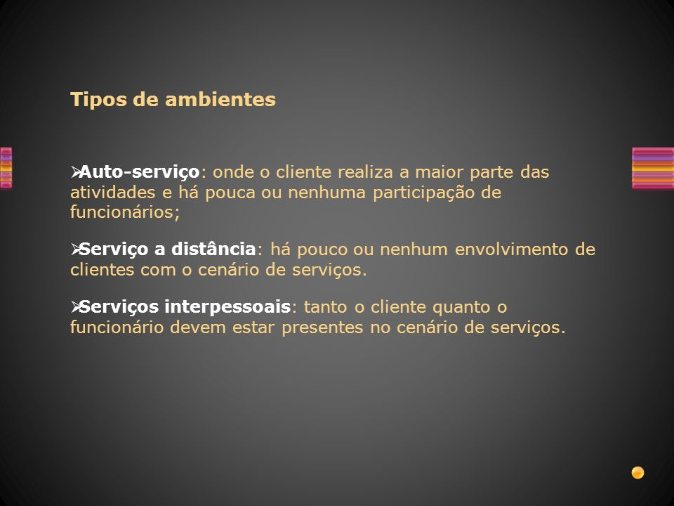 Tipos de ambientesAuto-serviço: onde o cliente realiza a maior parte das atividades e há pouca ou nenhuma participação de funcionários;