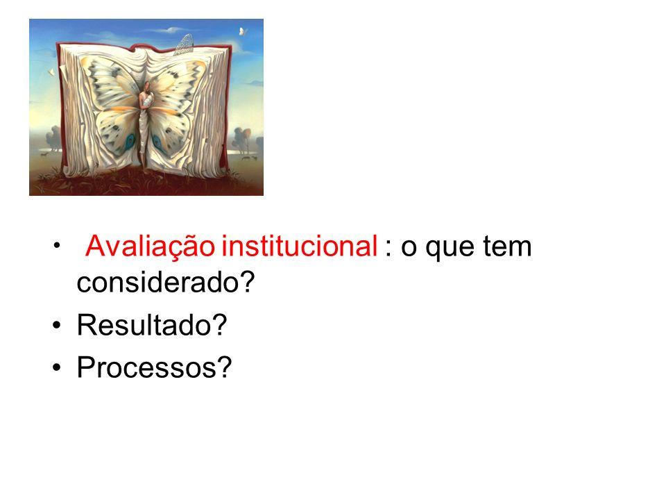 Avaliação institucional : o que tem considerado