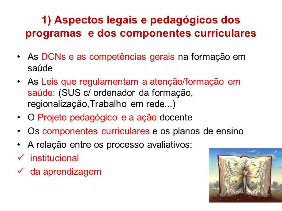 1) Aspectos legais e pedagógicos dos programas e dos componentes curriculares