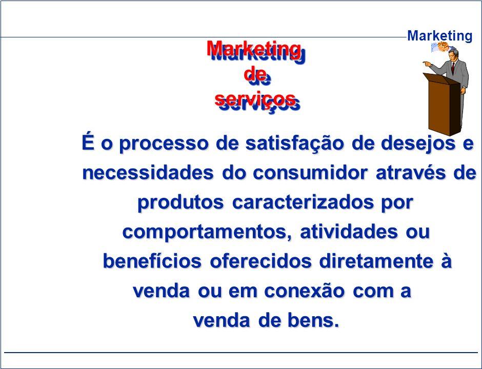 Marketing de. serviços. É o processo de satisfação de desejos e. necessidades do consumidor através de.