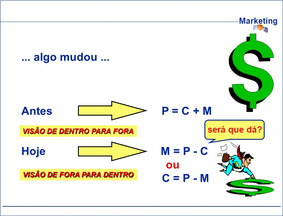 ... algo mudou ... Antes P = C + M Hoje M = P - C ou C = P - M