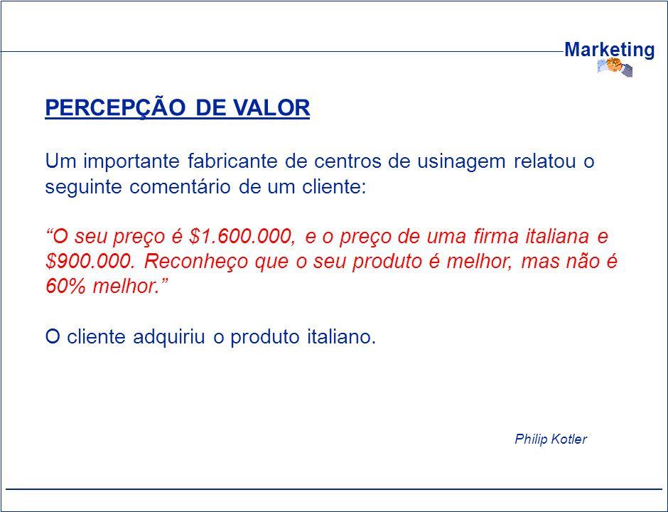 PERCEPÇÃO DE VALOR Um importante fabricante de centros de usinagem relatou o seguinte comentário de um cliente: