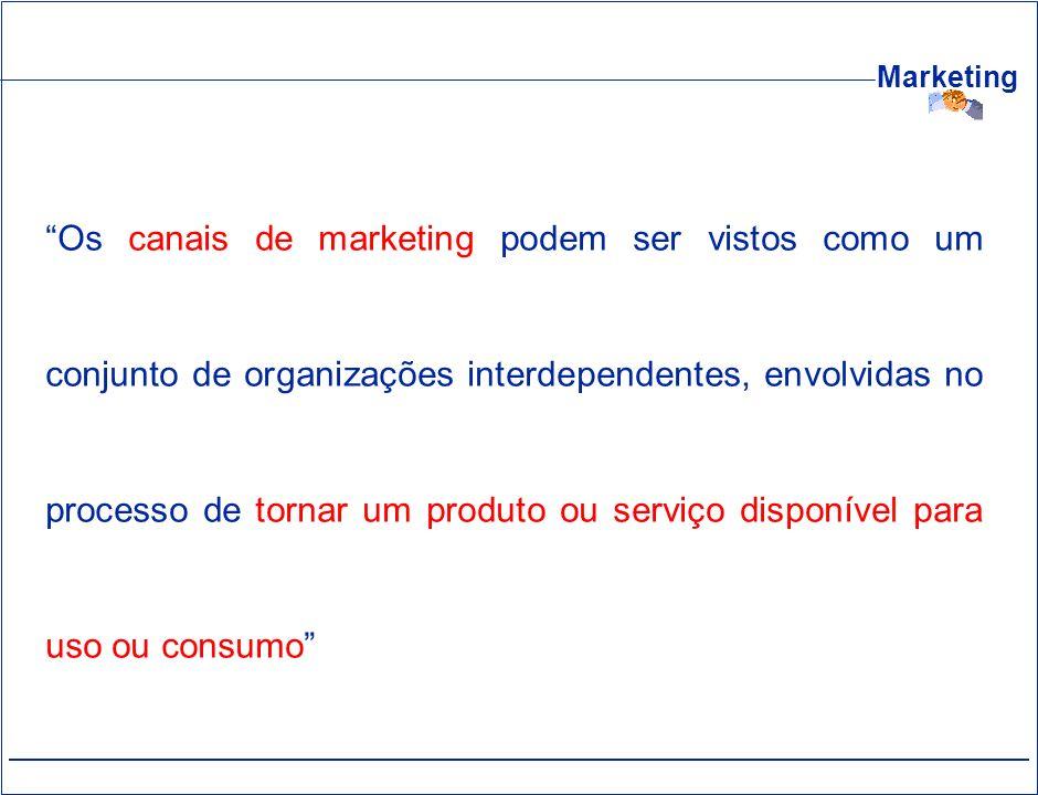 Os canais de marketing podem ser vistos como um conjunto de organizações interdependentes, envolvidas no processo de tornar um produto ou serviço disponível para uso ou consumo