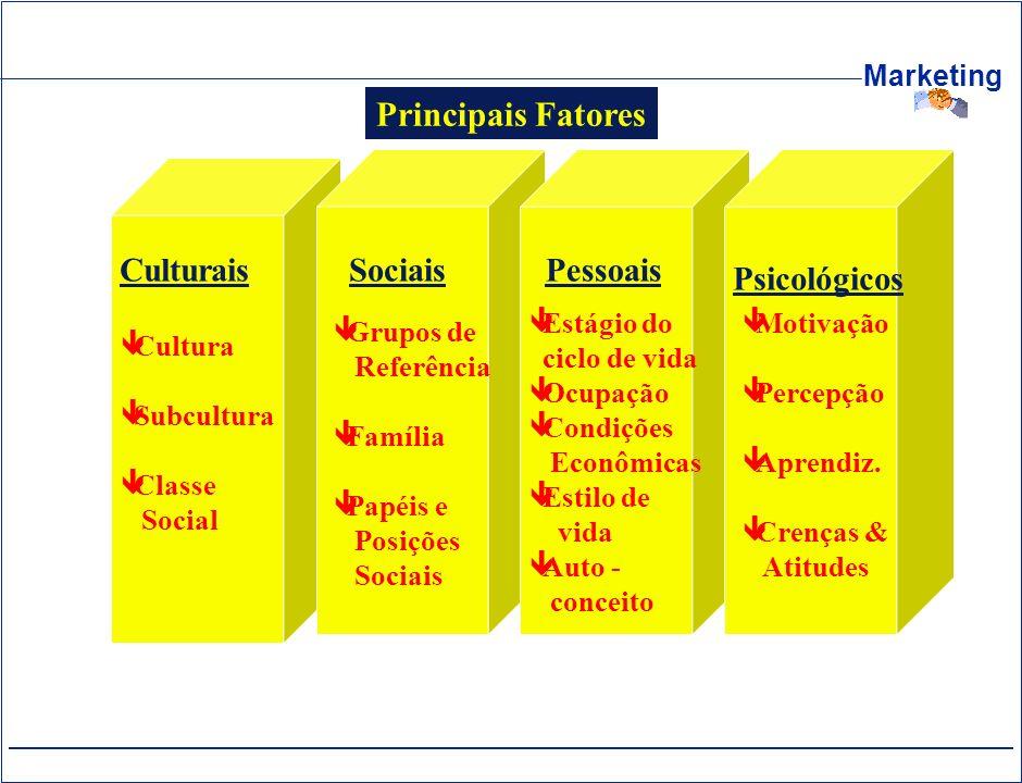 Principais Fatores Sociais Pessoais Psicológicos Culturais Grupos de