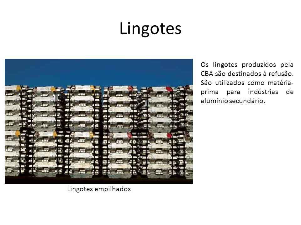 Lingotes Os lingotes produzidos pela CBA são destinados à refusão. São utilizados como matéria-prima para indústrias de alumínio secundário.
