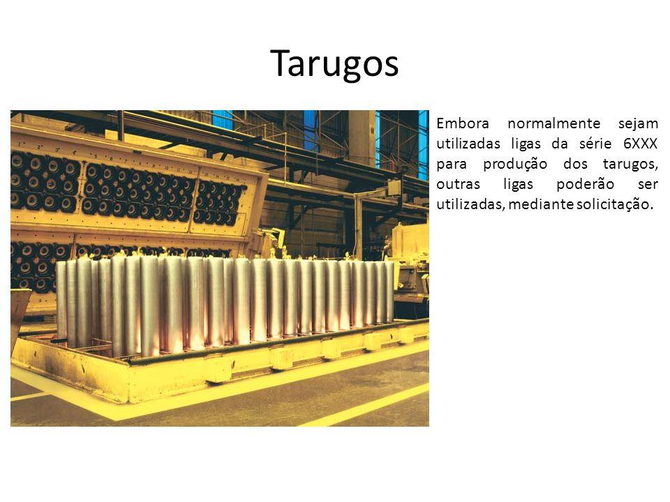 Tarugos Embora normalmente sejam utilizadas ligas da série 6XXX para produção dos tarugos, outras ligas poderão ser utilizadas, mediante solicitação.