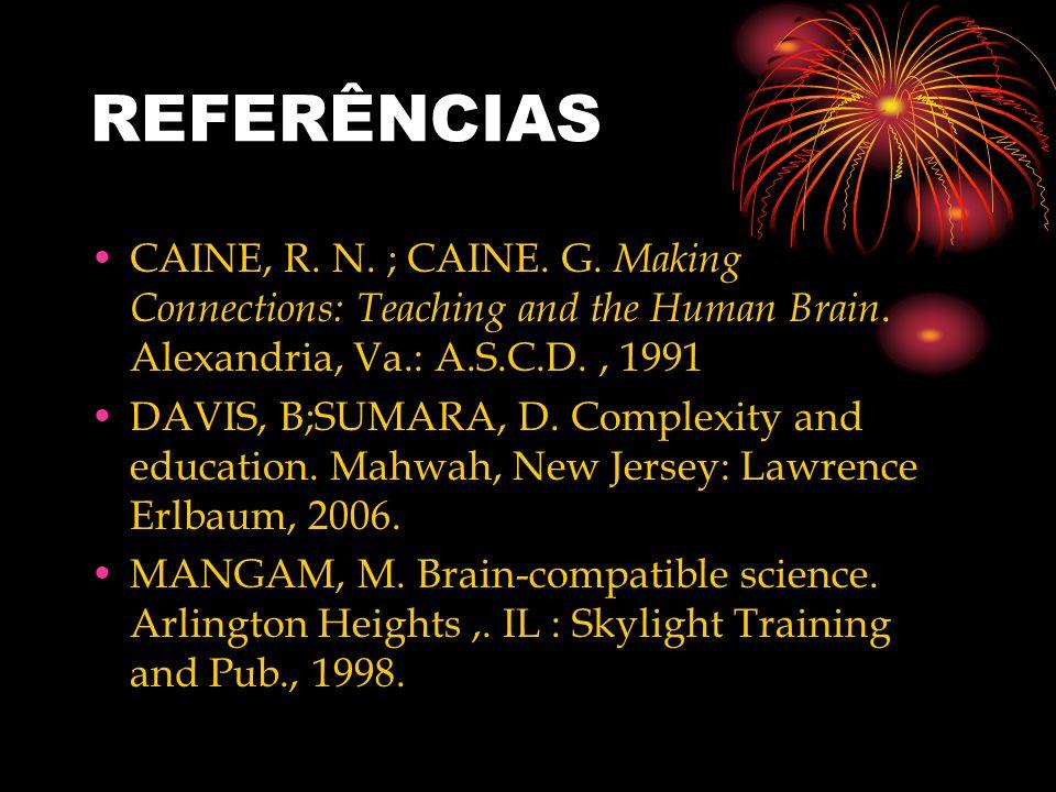 REFERÊNCIASCAINE, R. N. ; CAINE. G. Making Connections: Teaching and the Human Brain. Alexandria, Va.: A.S.C.D. , 1991.