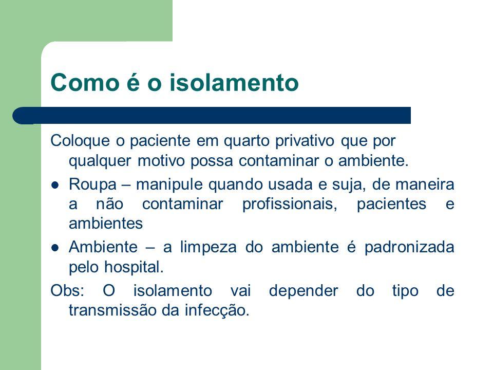 Como é o isolamento Coloque o paciente em quarto privativo que por qualquer motivo possa contaminar o ambiente.