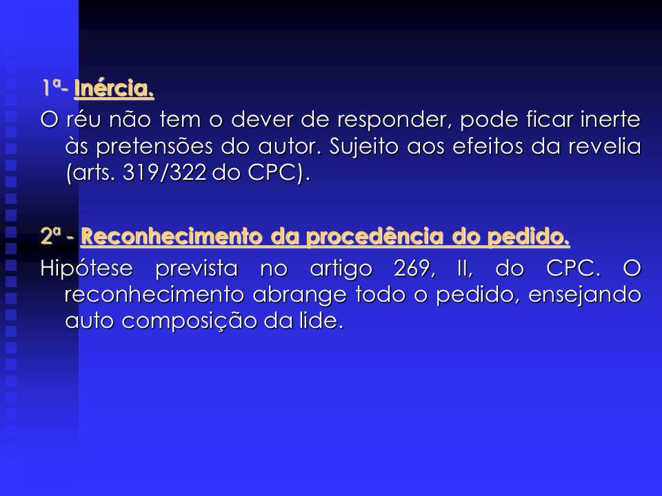 1ª- Inércia. O réu não tem o dever de responder, pode ficar inerte às pretensões do autor. Sujeito aos efeitos da revelia (arts. 319/322 do CPC).