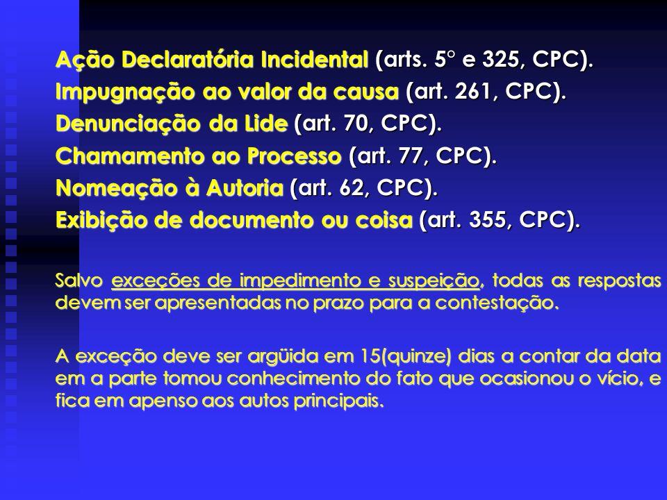Ação Declaratória Incidental (arts. 5° e 325, CPC).