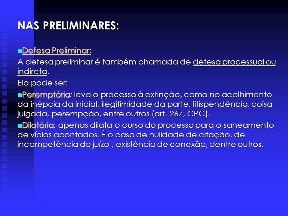 NAS PRELIMINARES: Defesa Preliminar: