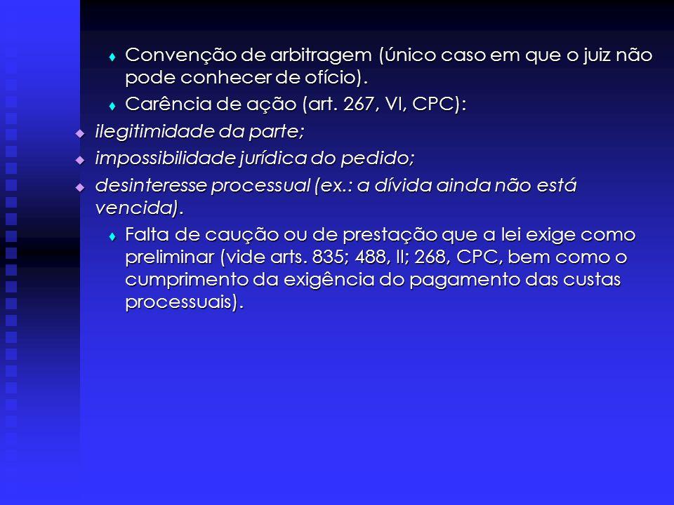 Convenção de arbitragem (único caso em que o juiz não pode conhecer de ofício).