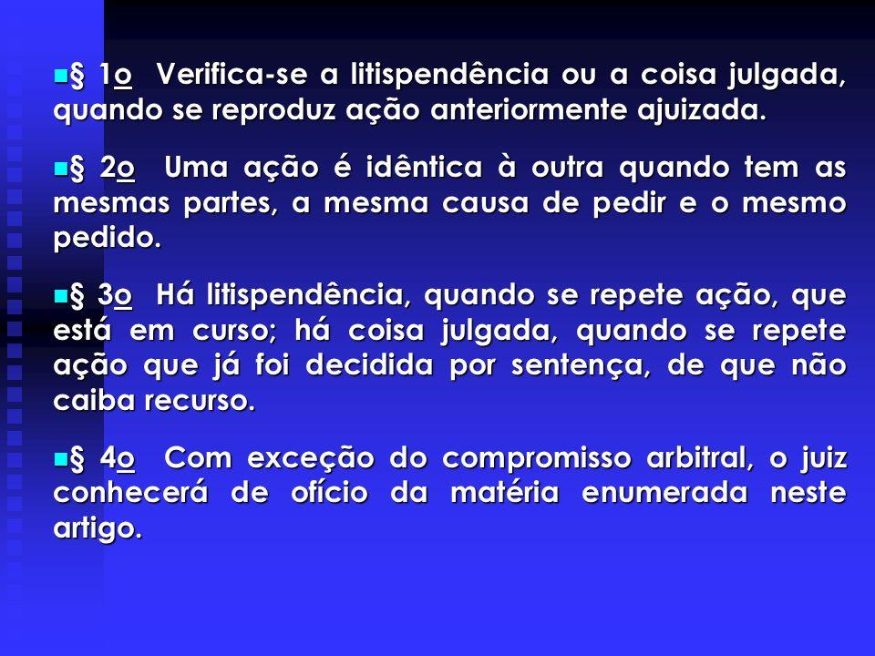 § 1o Verifica-se a litispendência ou a coisa julgada, quando se reproduz ação anteriormente ajuizada.