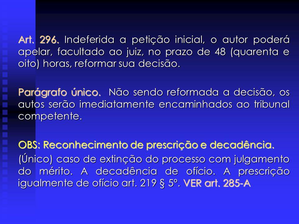 Art. 296. Indeferida a petição inicial, o autor poderá apelar, facultado ao juiz, no prazo de 48 (quarenta e oito) horas, reformar sua decisão.