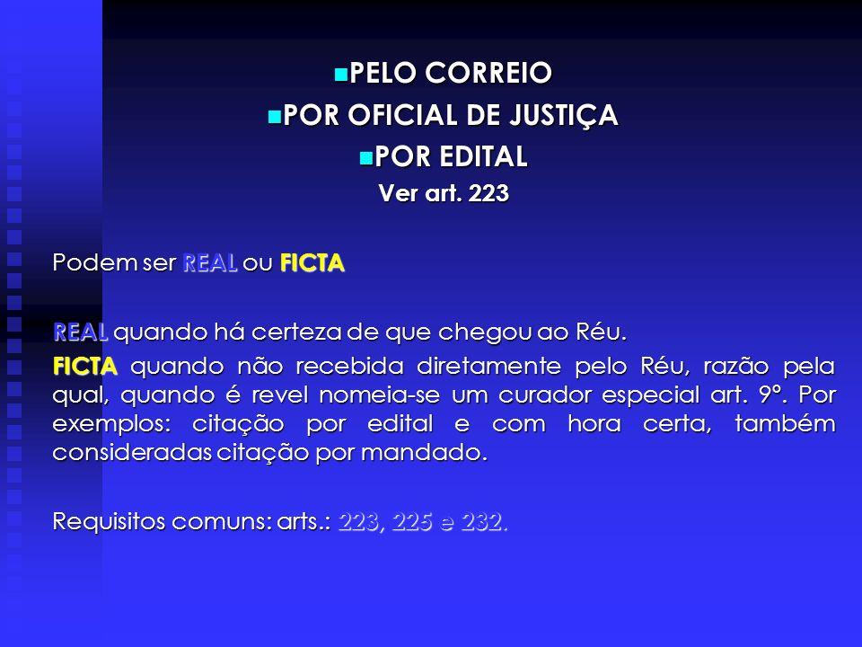 PELO CORREIO POR OFICIAL DE JUSTIÇA POR EDITAL