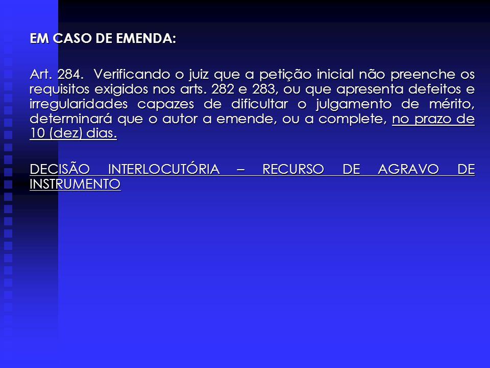 EM CASO DE EMENDA: