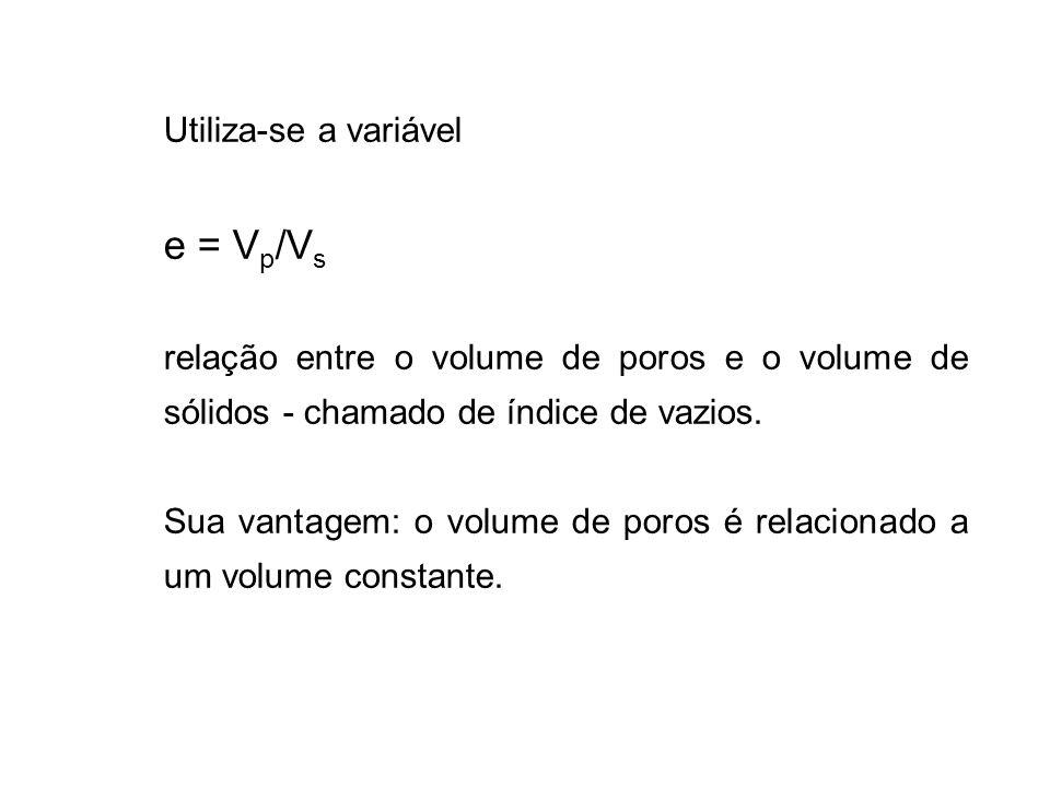 e = Vp/Vs Utiliza-se a variável