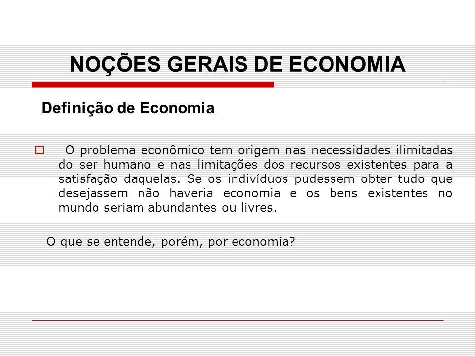 NOÇÕES GERAIS DE ECONOMIA