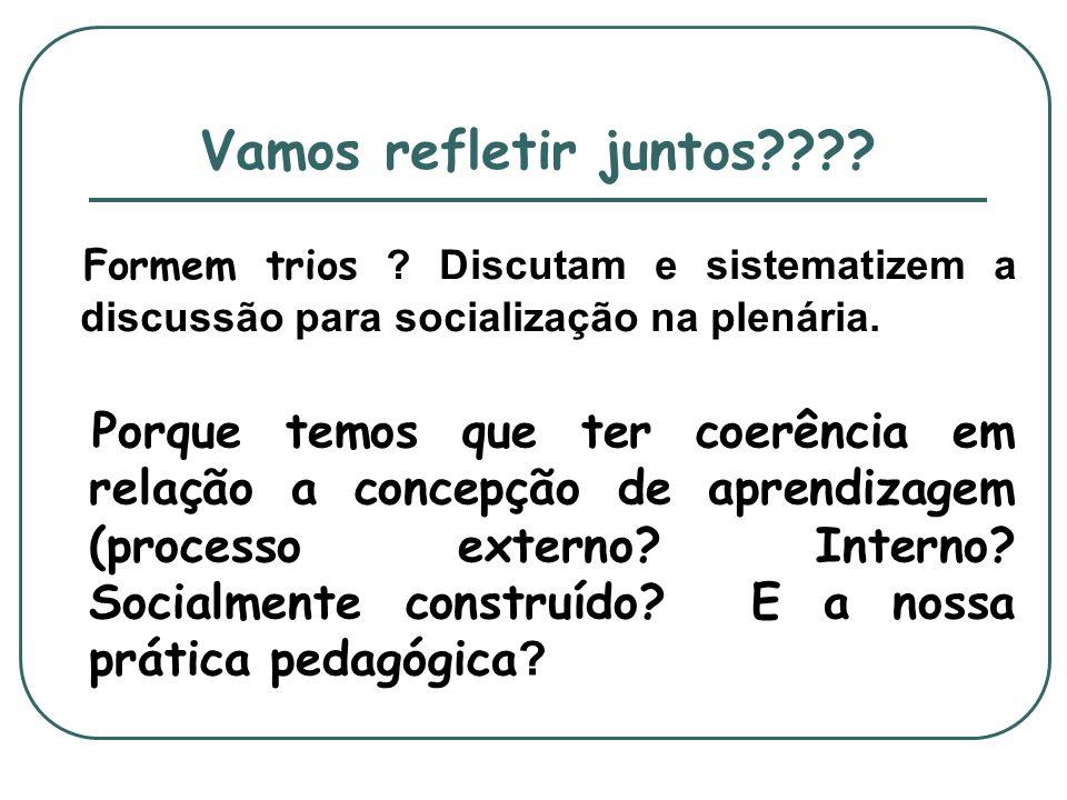 Vamos refletir juntos Formem trios Discutam e sistematizem a discussão para socialização na plenária.