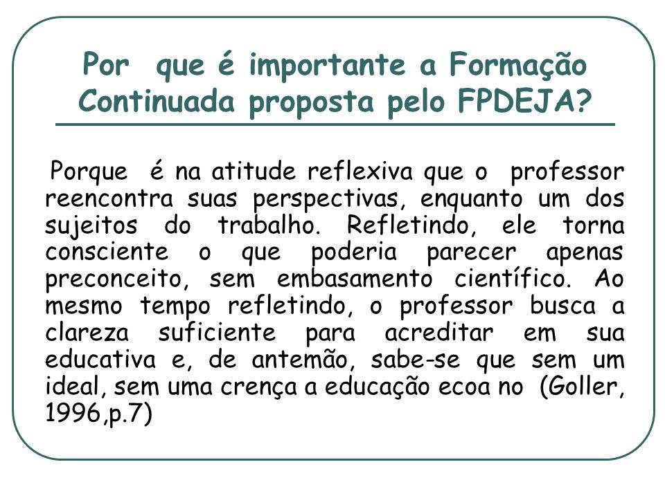 Por que é importante a Formação Continuada proposta pelo FPDEJA