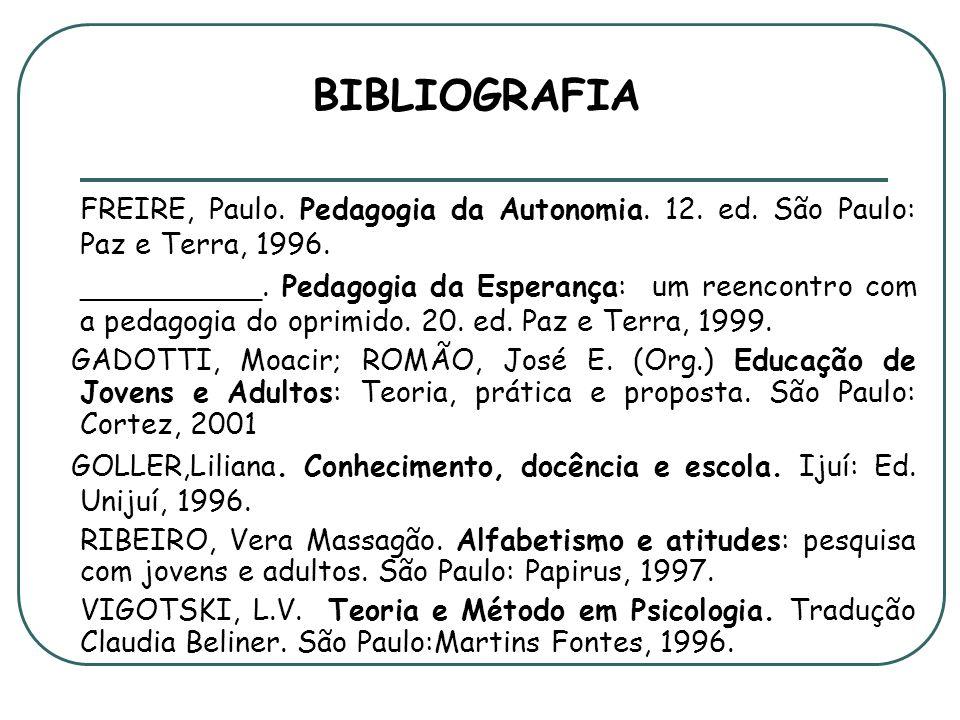 BIBLIOGRAFIA FREIRE, Paulo. Pedagogia da Autonomia. 12. ed. São Paulo: Paz e Terra, 1996.