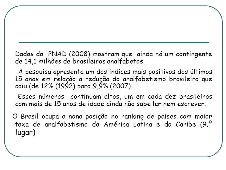 Dados do PNAD (2008) mostram que ainda há um contingente de 14,1 milhões de brasileiros analfabetos.