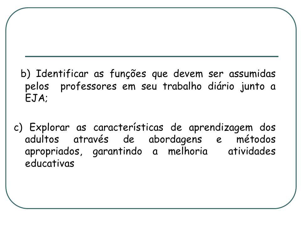 b) Identificar as funções que devem ser assumidas pelos professores em seu trabalho diário junto a EJA;
