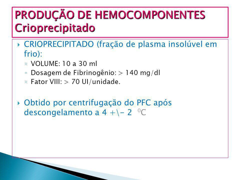 CRIOPRECIPITADO (fração de plasma insolúvel em frio):