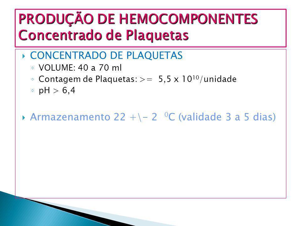 PRODUÇÃO DE HEMOCOMPONENTES Concentrado de Plaquetas