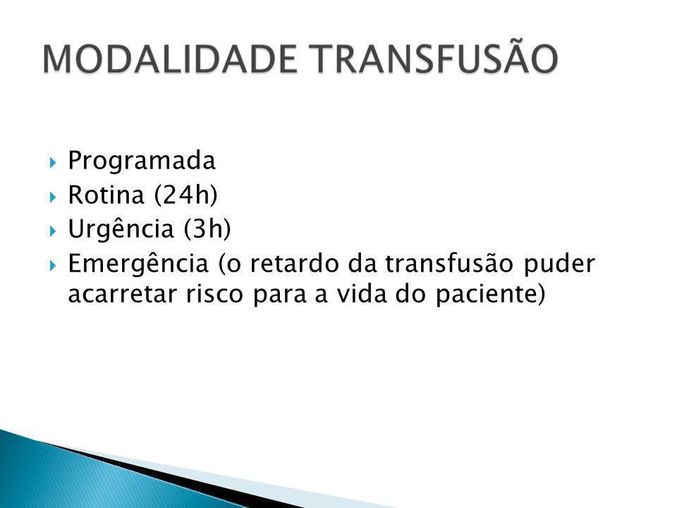 Programada Rotina (24h) Urgência (3h) Emergência (o retardo da transfusão puder acarretar risco para a vida do paciente)