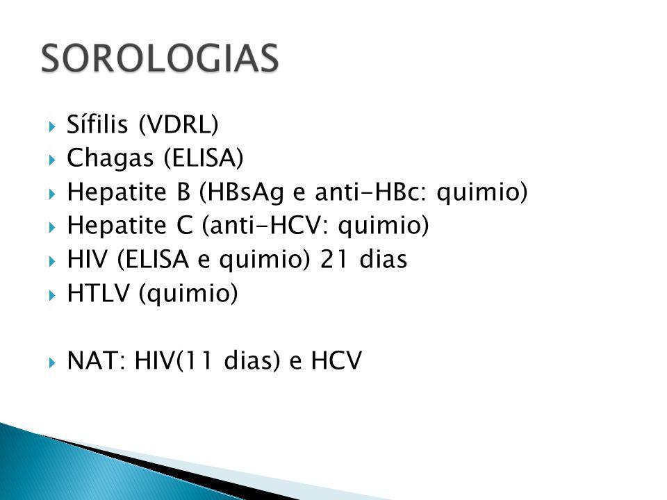Sífilis (VDRL) Chagas (ELISA) Hepatite B (HBsAg e anti-HBc: quimio) Hepatite C (anti-HCV: quimio)