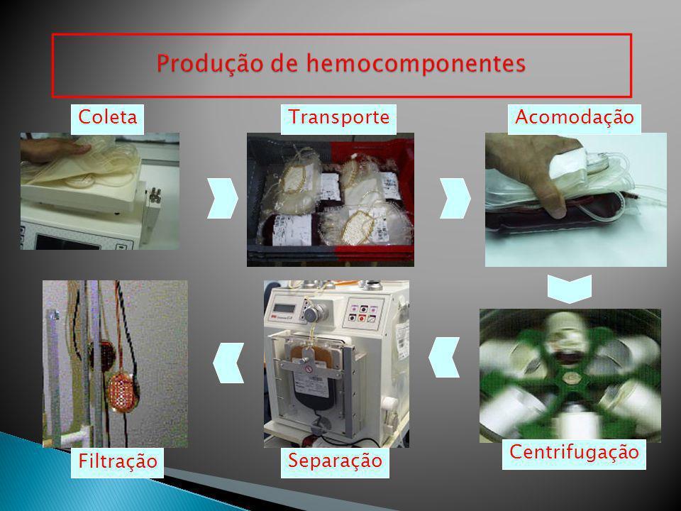 Coleta Transporte Acomodação Centrifugação Filtração Separação